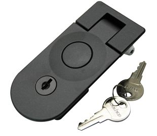 Sealed Lever Latch, Push Button, Locking, Black Powder Coated