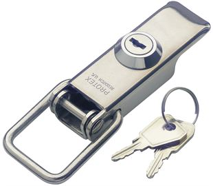 Non-Adjustable Latch with Key Lock Medium Duty Stainless Steel (Natural)