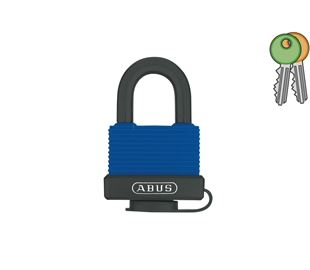 Weather Protected Brass Padlock with 8mm Diameter Stainless Steel Shackle in Black and Blue