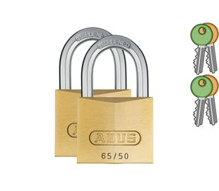 Brass Padlock Twin Pack with 8mm Hardened Shackle