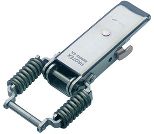 Spring Claw Latch with Safety Catch Medium Duty Mild Steel Zinc Plate Passivate (Silver Blue)