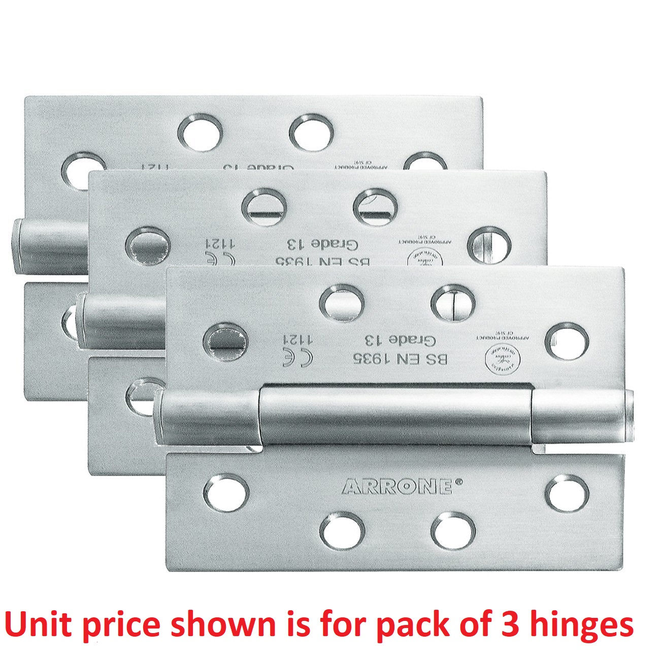 102mm X 75mm X 3mm Triple Pack Concealed Bearing Butt Hinge with Screws Stainless Steel (Satin)