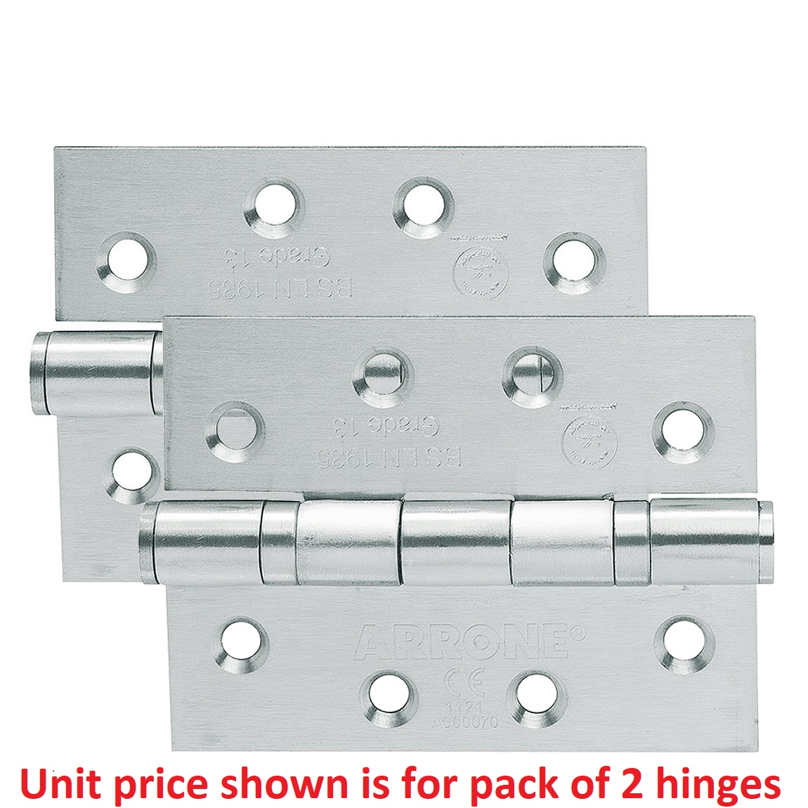 102mm X 75mm X 3mm Twin Pack Ball Bearing Butt Hinge with Screws Stainless Steel (Satin)