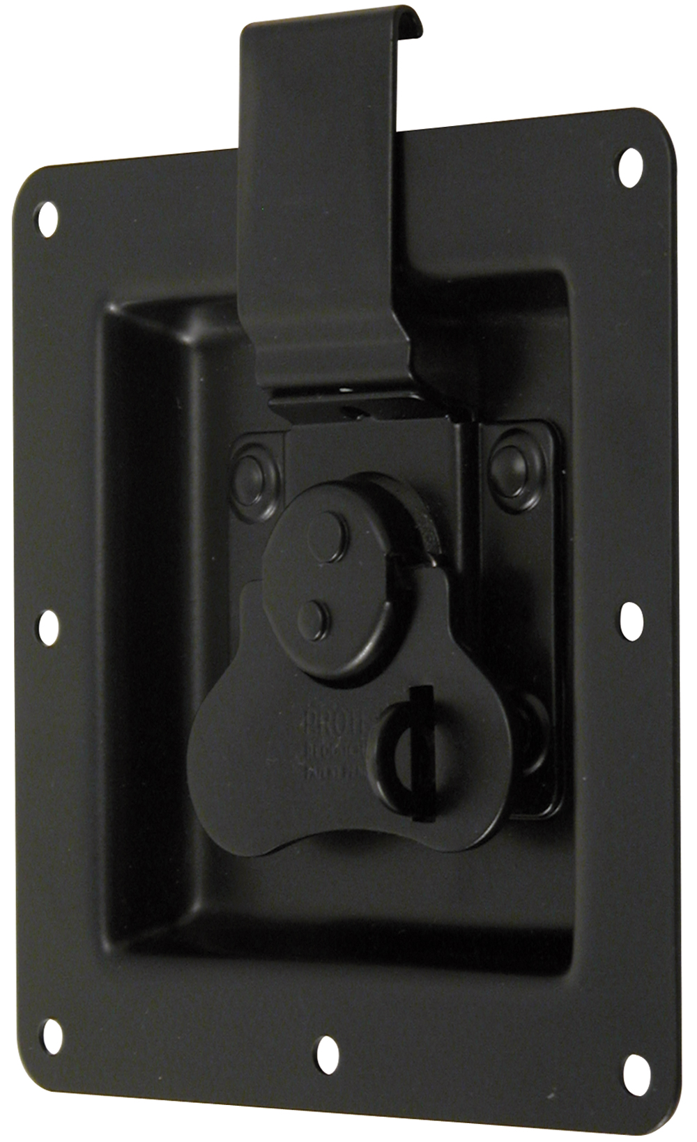 Rotary Turn Latch in Recess Dish Padlockable Mild Steel Black