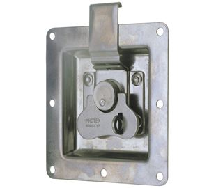 Rotary Turn Latch in Recess Dish Padlockable Mild Steel Zinc Plate Passivate (Silver Blue)