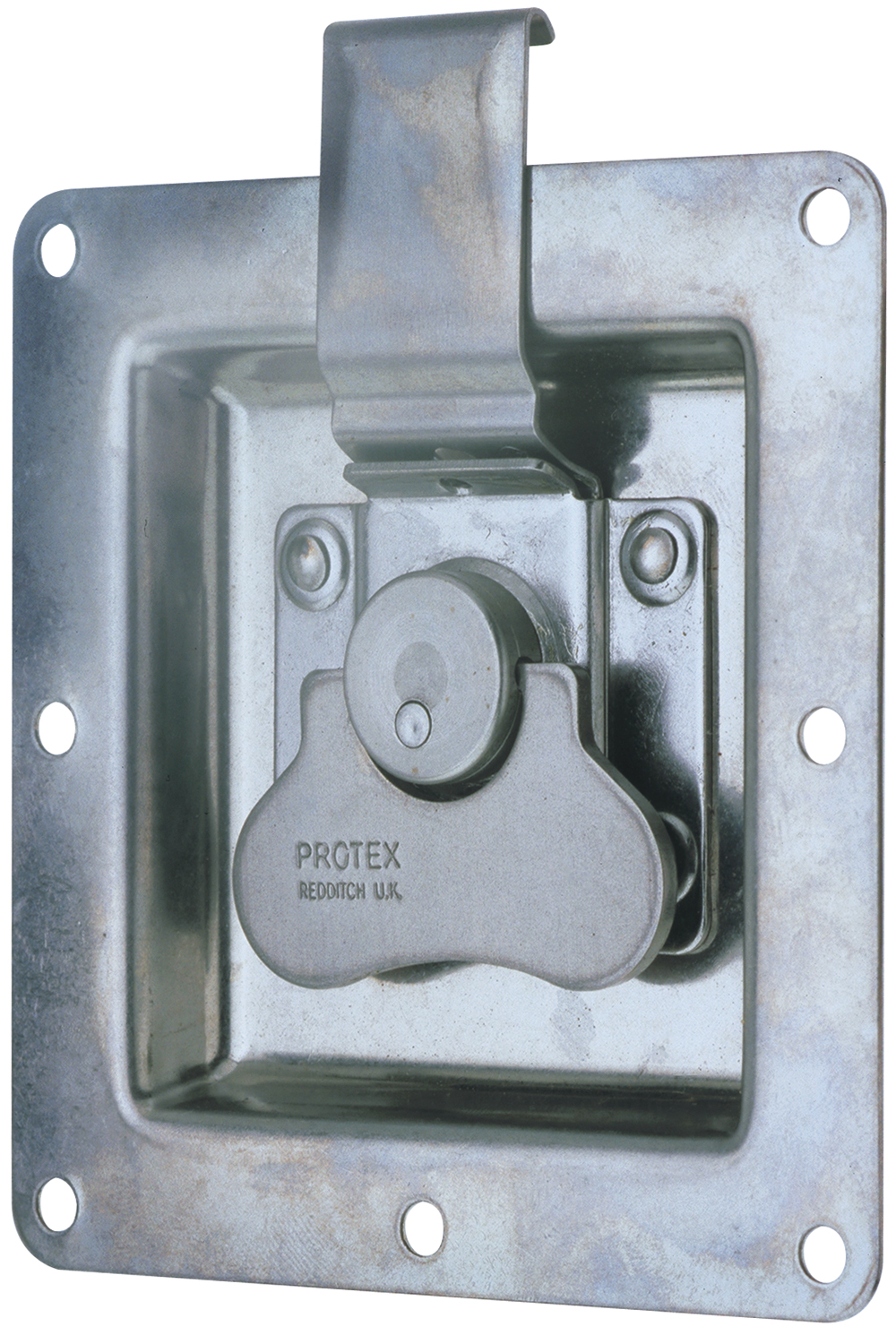 Rotary Turn Latch in Recess Dish Mild Steel Zinc Plate Passivate (Silver Blue)