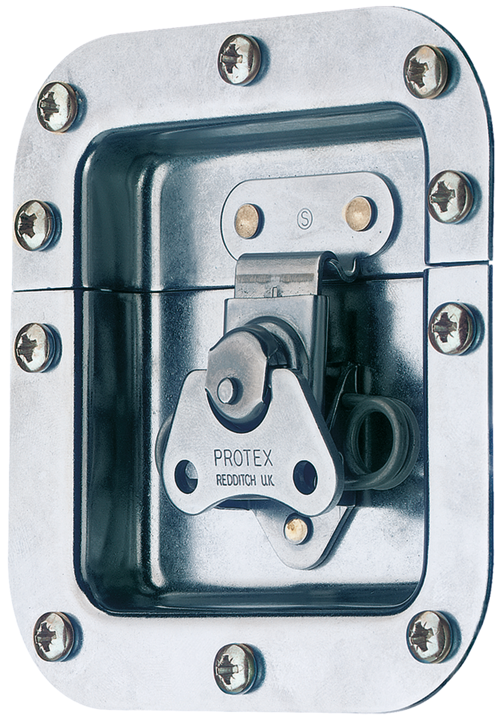 Rotary Turn Latch in Recess Dish Spring Loaded Mild Steel Zinc Plate Passivate (Silver Blue)