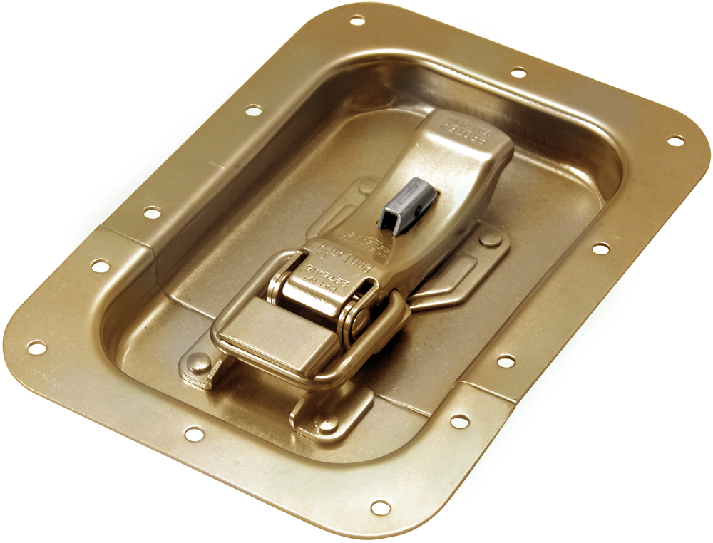 ProLatch in Recess Dish with Safety Catch Mild Steel Zinc Plate Passivate (Yellow)