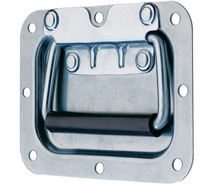 Recessed Spring Loaded Handle Mild Steel Zinc Plate Passivate (Silver Blue)